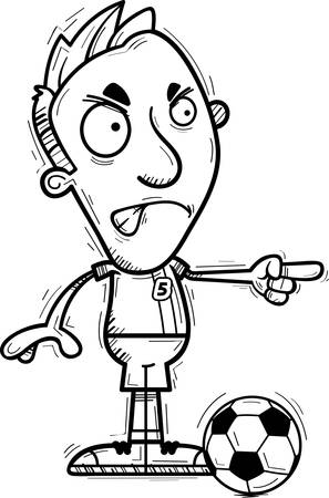 A cartoon illustration of a man soccer player looking angry and pointing.