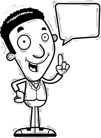 A cartoon illustration of a black businessman talking.