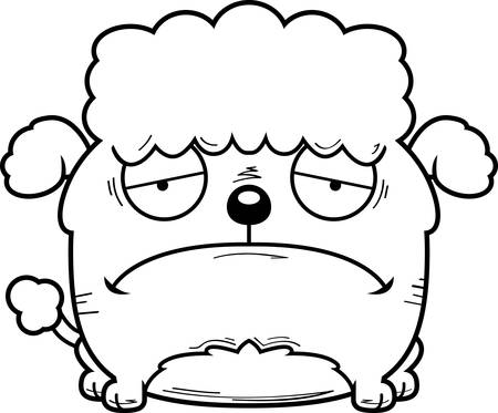 A cartoon illustration of a little poodle looking sad.
