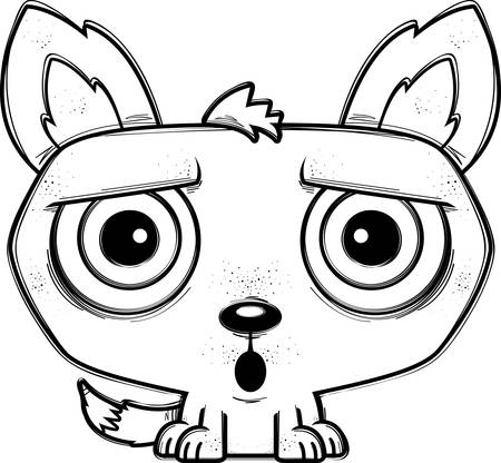 A cartoon illustration of a wolf looking surprised.