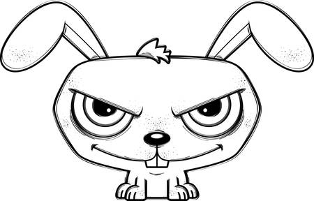 A cartoon illustration of a sinister looking rabbit.