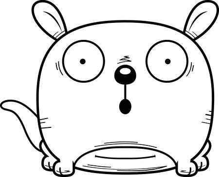 A cartoon illustration of a little kangaroo looking surprised. Illustration