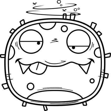 A cartoon illustration of a germ looking drunk. Foto de archivo - 102271531