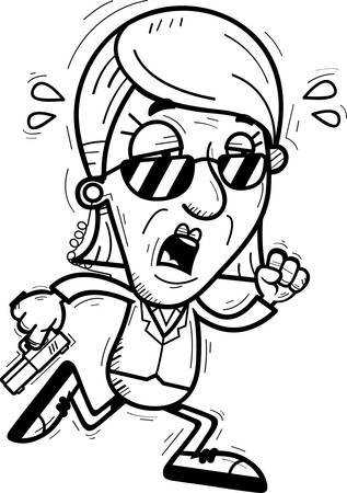 A cartoon illustration of a senior citizen woman secret service agent running and looking exhausted. Illustration