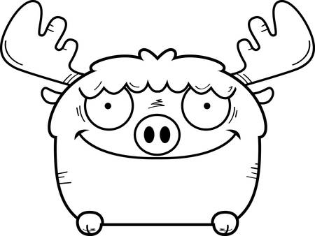A cartoon illustration of a moose peeking over an object. Archivio Fotografico - 102271468