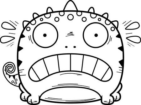 A cartoon illustration of a lizard looking terrified.