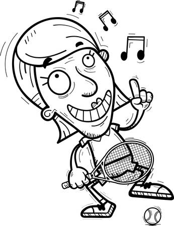 A cartoon illustration of a senior citizen woman tennis player dancing. Illustration