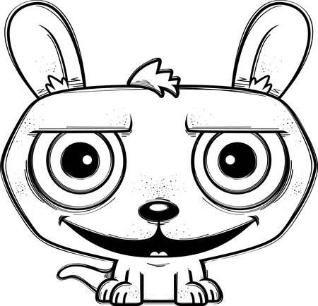 A cartoon illustration of a little kangaroo looking happy. Illustration