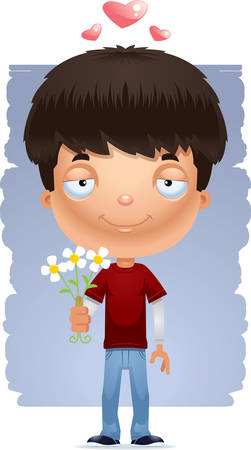A cartoon illustration of a teenage boy with flowers.