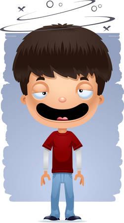 A cartoon illustration of a teenage boy looking drunk. Illustration