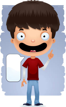 A cartoon illustration of a teenage boy talking.