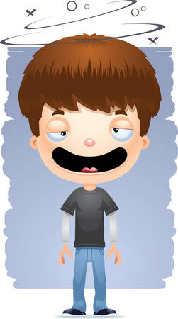 A cartoon illustration of a teenage boy looking drunk. Illustration