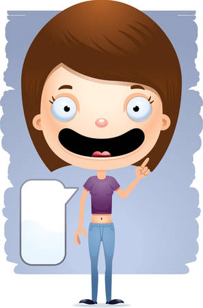A cartoon illustration of a teenage girl talking. Ilustrace