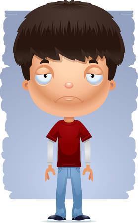 Une illustration de dessin animé d'un adolescent à la triste.