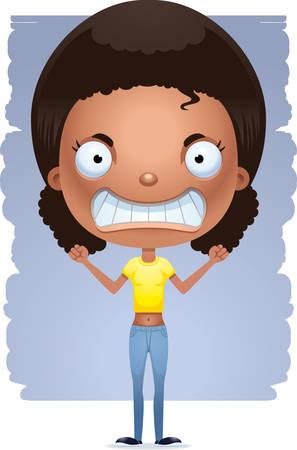 A cartoon illustration of a teenage girl looking mad. Çizim