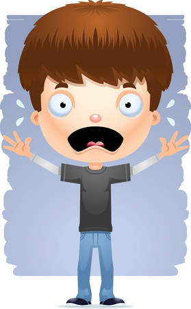 A cartoon illustration of a teenage boy looking scared.