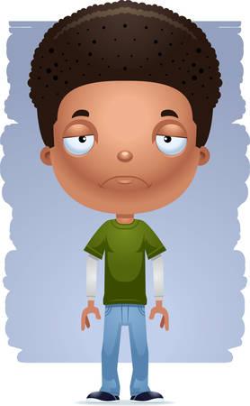 A cartoon illustration of a teenage boy looking sad.