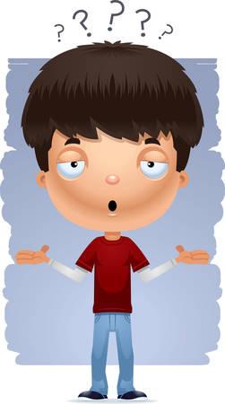 A cartoon illustration of a teenage boy shrugging. Ilustración de vector