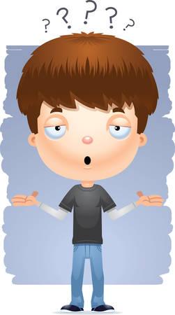 Une illustration de dessin animé d'un adolescent haussant les épaules.