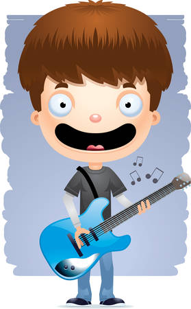 A cartoon illustration of a teenage boy playing an electric guitar.