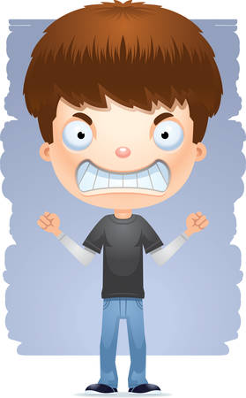A cartoon illustration of a teenage boy looking mad.