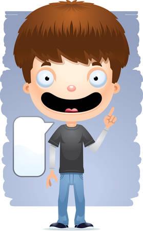 A cartoon illustration of a teenage boy talking.