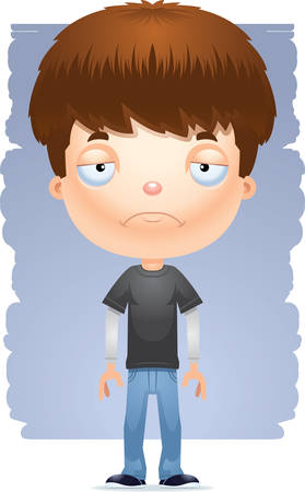 A cartoon illustration of a teenage boy looking sad.