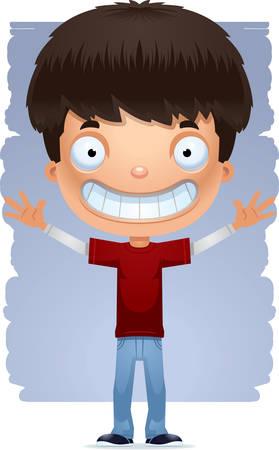 Une illustration de dessin animé d'un adolescent à la recherche d'heureux.