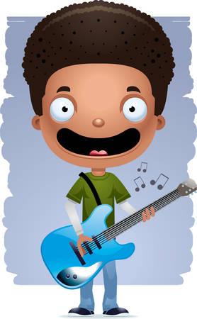 A cartoon illustration of a teenage boy playing an electric guitar.