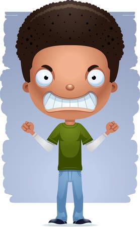 Una caricatura de la ilustración de un adolescente que parece enojado. Ilustración de vector