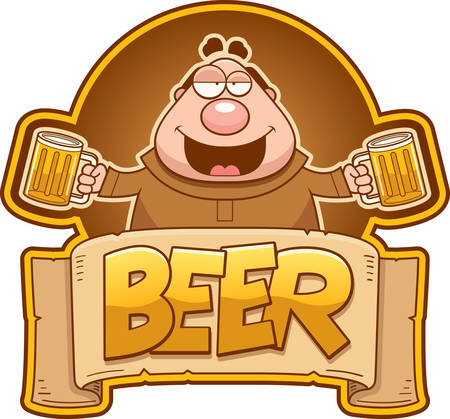 A cartoon illustration of a monk with two mugs of beer and the text beer.