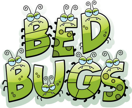 A cartoon illustration of the text bed bugs with bugs.