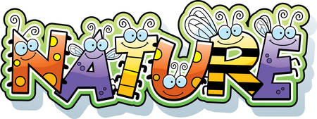 A cartoon illustration of the text nature with a bug theme.