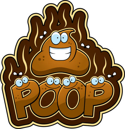 A cartoon illustration of the text poop with flies.