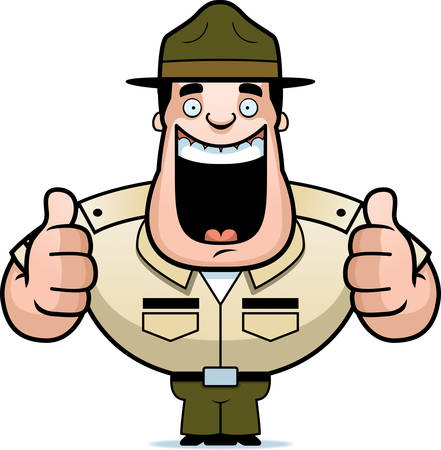 A cartoon illustration of a drill sergeant giving two thumbs up.