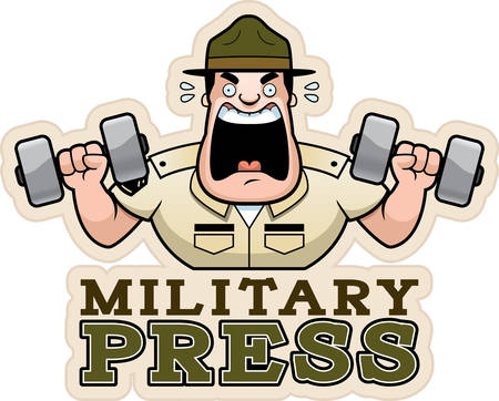 A cartoon illustration of a drill sergeant doing a military press exercise.