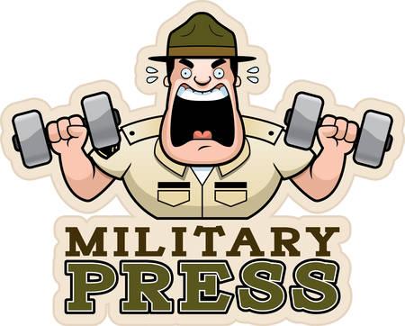 Una caricatura de la ilustración de un sargento de instrucción haciendo un ejercicio de prensa militar.