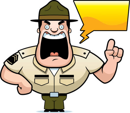 A cartoon illustration of a drill sergeant yelling. Illustration