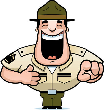 A cartoon illustration of a drill sergeant laughing and pointing. Illustration