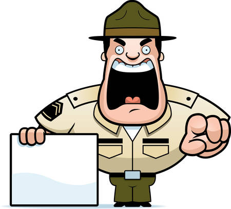 A cartoon illustration of a drill sergeant yelling and pointing with a sign. Ilustração