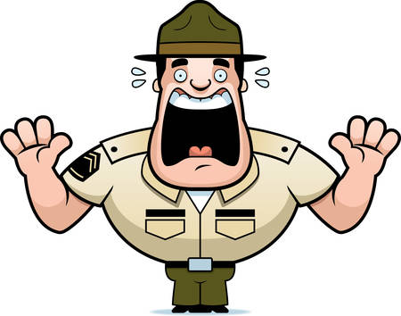 A cartoon illustration of a drill sergeant scared and screaming.
