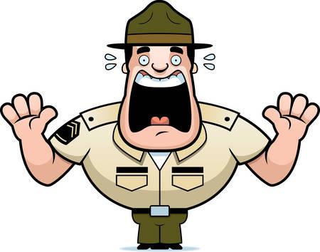 Una caricatura de la ilustración de un sargento de instrucción asustado y gritando. Ilustración de vector