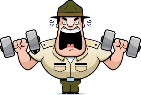 A cartoon illustration of a drill sergeant lifting weights. Reklamní fotografie - 115140712