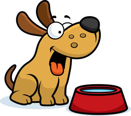 Ilustración de una caricatura de un perro con un tazón de agua. Ilustración de vector