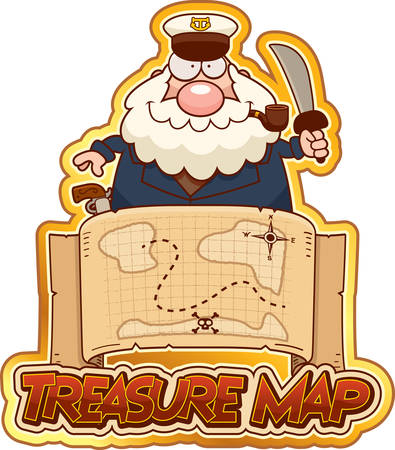 A cartoon illustration of a sea captain with a treasure map and treasure map text.