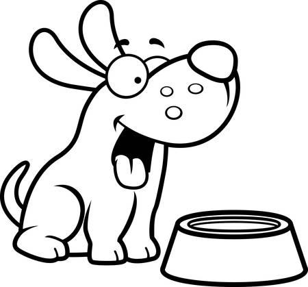 Eine Karikaturillustration eines Hundes mit einer Wasserschale.