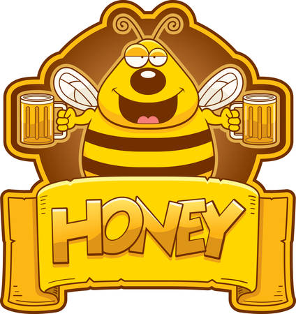 A cartoon illustration of a bee with two mugs of honey.