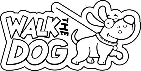A cartoon illustration of a dog with a walk the dog sign.