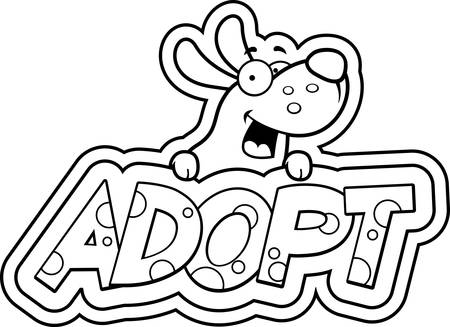 A cartoon illustration of a dog with an adopt sign. Illustration