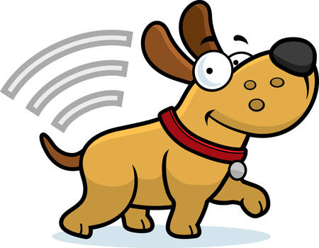 A cartoon illustration of a dog with a microchip. Ilustração